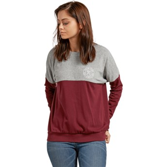 Sweat-shirt rouge et gris Blocking Burgundy Volcom