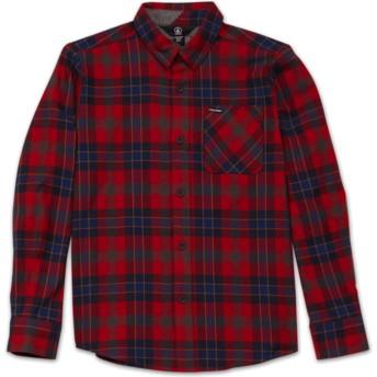 Chemise à manche longue rouge à carreaux pour enfant Caden Plaid Engine Red Volcom