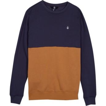 Sweat-shirt bleu marine et marron pour enfant Single Stone Division Midnight Blue Volcom