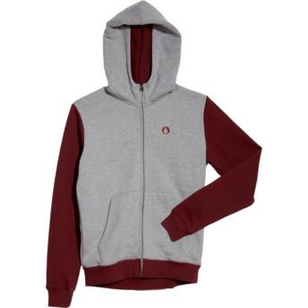 Sweat à capuche et fermeture éclair gris et rouge pour enfant Single Stone Division Grey Volcom
