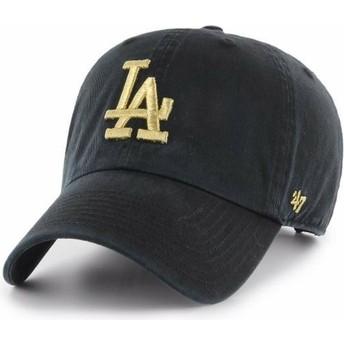 Casquette courbée noire avec logo or Los Angeles Dodgers MLB Clean Up Metallic 47 Brand