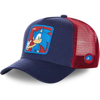 Casquette trucker bleue marine et rouge Sonic SO1 Sonic the Hedgehog Capslab
