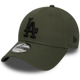 Casquette courbée verte ajustable avec logo noir 9FORTY Essential Los Angeles Dodgers MLB New Era