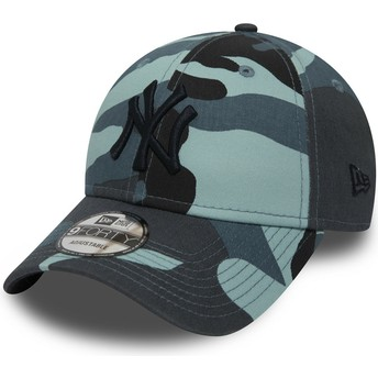 Casquette courbée camouflage bleue ajustable avec logo noir 9FORTY Essential New York Yankees MLB New Era
