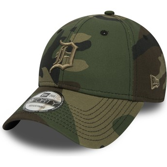 Casquette courbée camouflage ajustable avec logo marron 9FORTY Essential Detroit Tigers MLB New Era