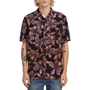 Chemise à manche courte noire avec fleurs Resorto Vallarta Neon Pink Volcom