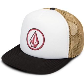 Casquette trucker blanche, marron et noire Full Frontal Cheese Camel Volcom