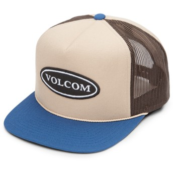 Casquette trucker marron avec visière bleue Logger Cheese Sand Brown Volcom