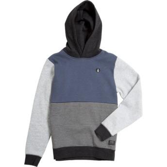 Sweat à capuche bleu marine, gris et noir pour enfant Forzee Indigo Volcom