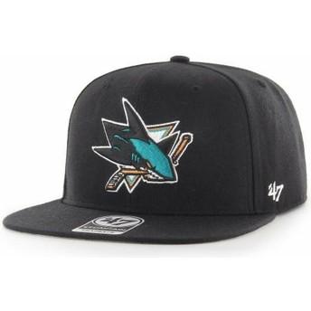 Casquette plate noire snapback Captain No Shot San Jose Sharks NHL 47 Brand