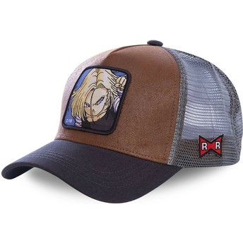 Casquette trucker marron et grise Android C-18 C18A Dragon Ball Capslab