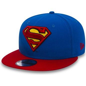 Casquette plate bleue snapback avec visière rouge 9FIFTY Team Superman Warner Bros New Era