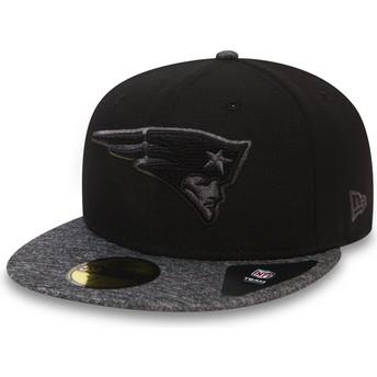 Casquette plate noire ajustée 59FIFTY Grey Collection New England Patriots NFL New Era
