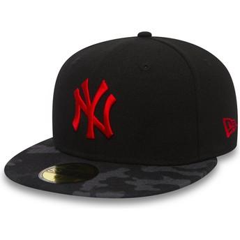 Casquette plate noire ajustée avec logo rouge 59FIFTY Contrast Camo New York Yankees MLB New Era