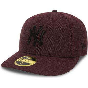 Casquette plate grenat ajustée avec logo noir 59FIFTY Low Profile Heather New York Yankees MLB New Era