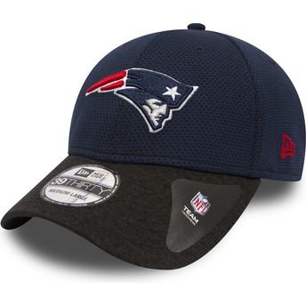 Casquette courbée bleue marine ajustée avec visière noire 39THIRTY Shadow Tech New England Patriots NFL New Era