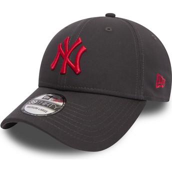 Casquette courbée pierre ajustée avec logo rouge 39THIRTY Essential League New York Yankees MLB New Era