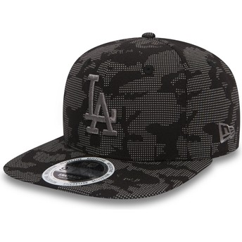Casquette plate noire snapback avec logo grise 9FIFTY Night Time Reflective Los Angeles Dodgers MLB New Era