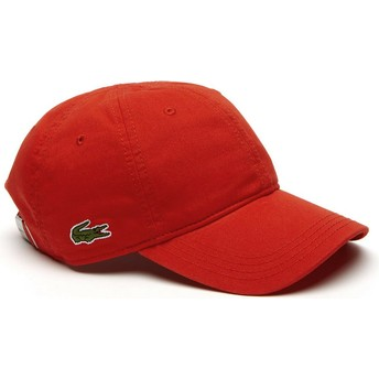 Casquette courbée rouge ajustable Basic Side Crocodile Lacoste