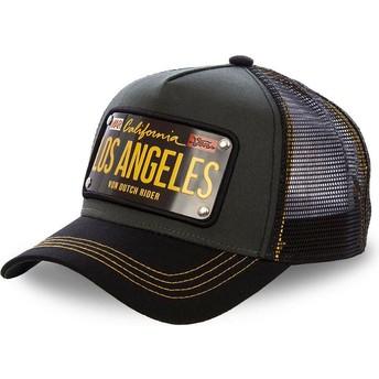 Casquette trucker noire avec plaque Los Angeles LOS2 Von Dutch