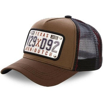 Casquette trucker marron avec plaque Texas TEX1 Von Dutch