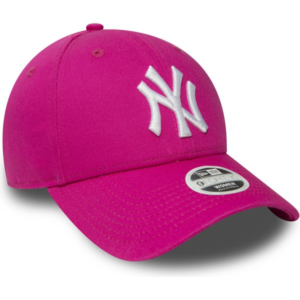 casquette-courbee-rose-ajustable-9forty-essential-new-york-yankees-mlb-new-era