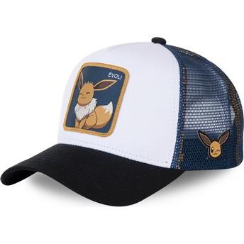 Casquette trucker blanche, bleue et noire Évoli EVO3 Pokémon Capslab