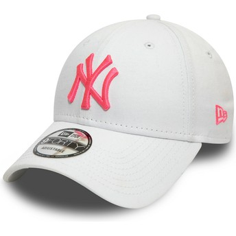 Casquette courbée blanche ajustable avec logo rose 9FORTY League Essential Neon New York Yankees MLB New Era