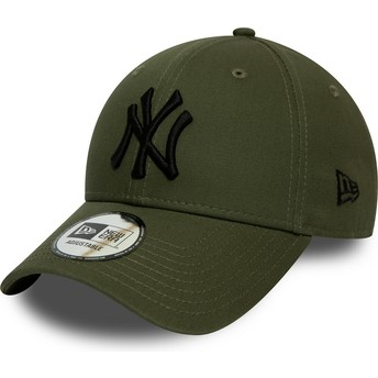 Casquette courbée verte ajustable avec logo noir 9FORTY League Essential New York Yankees MLB New Era