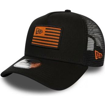 Casquette trucker noire et orange A Frame Flag New Era