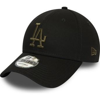 Casquette courbée noire ajustable avec logo vert 9FORTY Essential Los Angeles Dodgers MLB New Era
