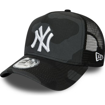Casquette trucker camouflage noire avec logo blanc Essential Camo A Frame New York Yankees MLB New Era