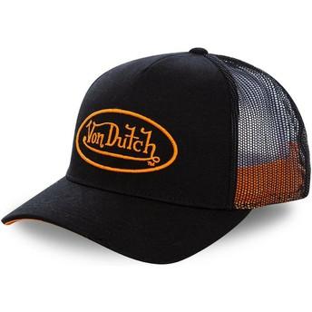 Casquette trucker noire avec logo orange NEO ORA Von Dutch
