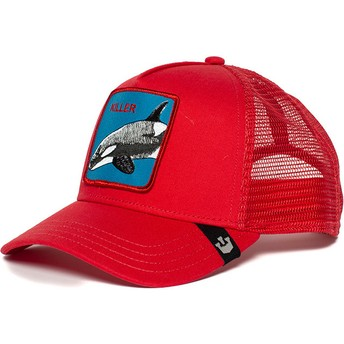 Casquette trucker rouge épaulard Killer Whale Goorin Bros.
