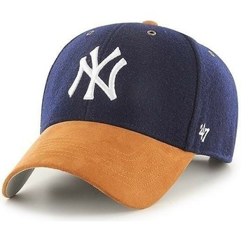 Casquette courbée bleue marine ajustable avec visière marron MVP Willowbrook New York Yankees MLB 47 Brand