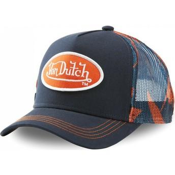 Casquette trucker bleue marine et orange AOP Von Dutch