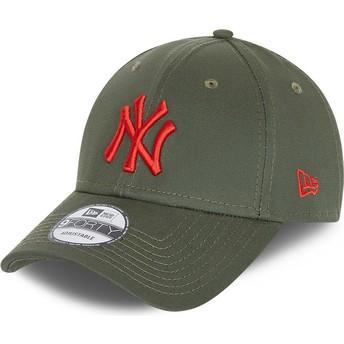 Casquette courbée verte ajustable avec logo rouge 9FORTY League Essential New York Yankees MLB New Era