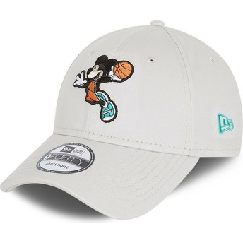 Casquette courbée blanche ajustable 9FORTY Character Sports Mickey Mouse Basketball Disney New Era