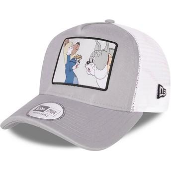 Casquette trucker grise et blanche A Frame Tom et Jerry Looney Tunes New Era