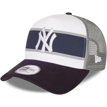Casquette trucker blanche et bleue marine A Frame Retro New York Yankees MLB New Era