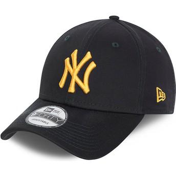 Casquette courbée bleue marine ajustable avec logo doré 9FORTY League Essential New York Yankees MLB New Era