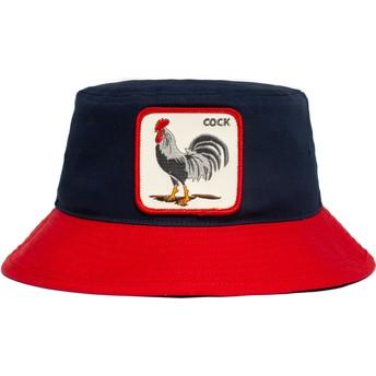 Chapeau seau bleu marine et rouge coq Cock Americana The Farm Goorin Bros.