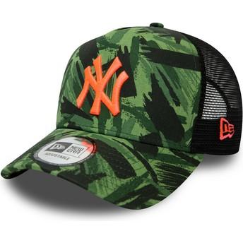 Casquette trucker camouflage avec logo orange Seasonal A Frame New York Yankees MLB New Era