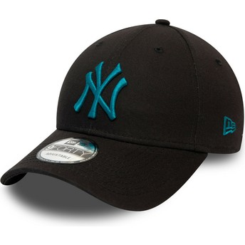 Casquette courbée noire ajustable avec logo bleu 9FORTY League Essential New York Yankees MLB New Era