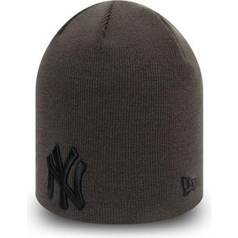 Bonnet gris avec logo noir Skull Knit League Essential New York Yankees MLB New Era