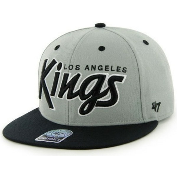casquette-plate-grise-snapback-avec-lettres-los-angeles-kings-nhl-47-brand