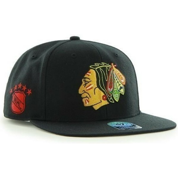casquette-plate-noire-snapback-chicago-blackhawks-nhl-sure-shot-47-brand