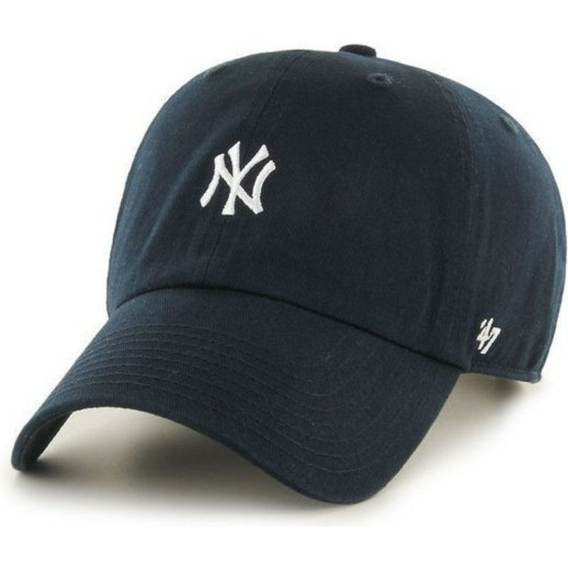 casquette-courbee-bleue-marine-avec-bande-de-cuir-new-york-yankees-mlb-clean-up-47-brand