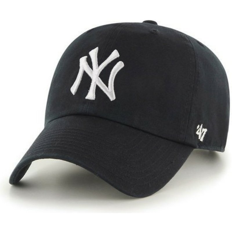 casquette-courbee-noire-new-york-yankees-mlb-clean-up-47-brand
