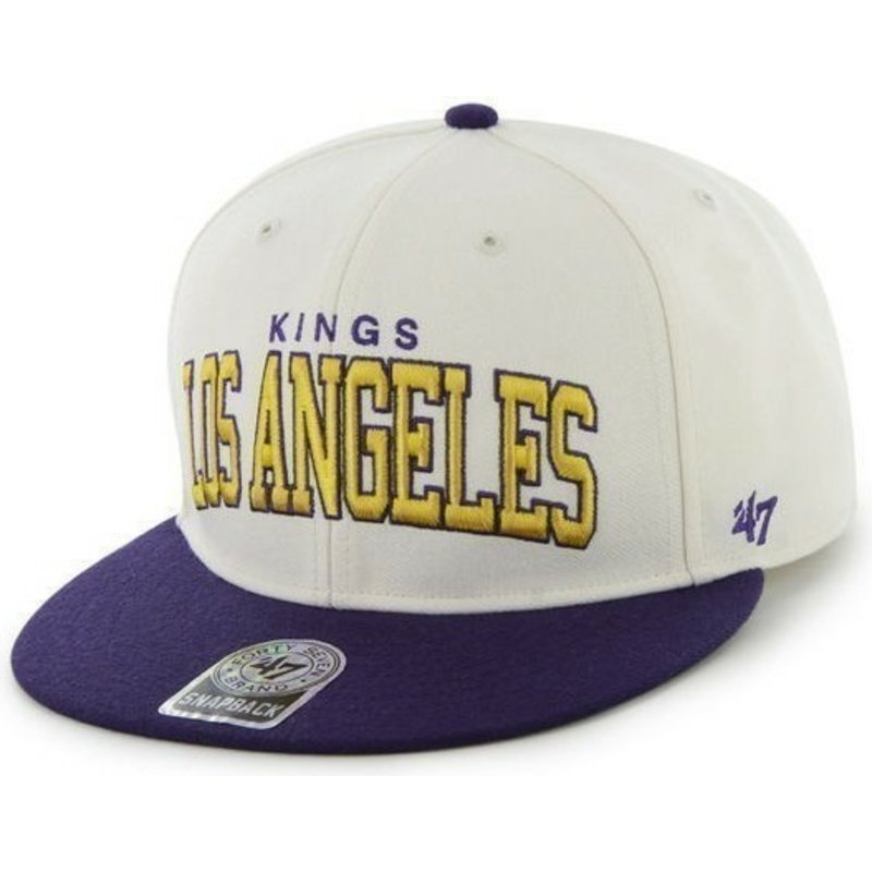 casquette-plate-blanche-et-bleue-snapback-los-angeles-kings-nhl-47-brand